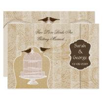 Chic brown bird cage, love birds invites