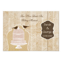 Chic brown bird cage, love birds invites