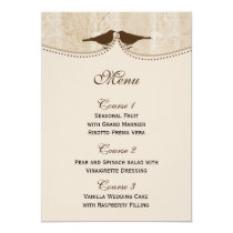 Chic brown bird cage, love birds Menu Cards