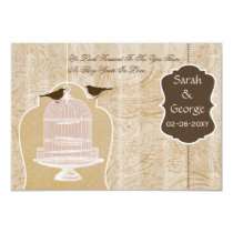 Chic brown bird cage, love birds RSVP 3.5 x 5 Card