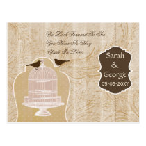 Chic brown bird cage, love birds RSVP Postcard