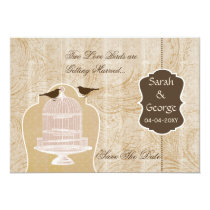 Chic brown bird cage, love birds save the dates card