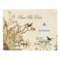 Chic brown bird cage, love birds save the dates postcard