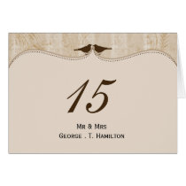 Chic brown bird cage, love birds table numbers card