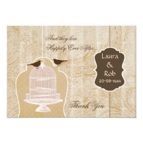 Chic brown bird cage, love birds Thank You Card