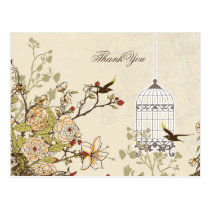 Chic brown bird cage, love birds Thank You Postcard
