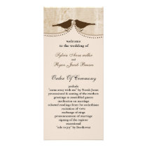 Chic brown bird cage, love birds wedding programs