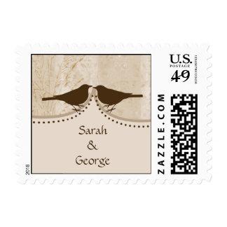 Chic brown bird cage, love birds wedding stamps