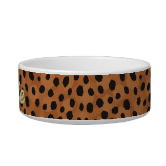 Chic brown cheetah print monogram bowl