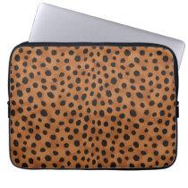 Chic brown cheetah print monogram computer sleeve