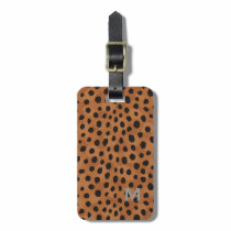 Chic brown cheetah print monogram luggage tag