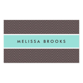 Chic brown chevrons aqua blue professional profile business card