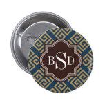 Chic brown greek key geometric patterns monogram 2 inch round button