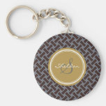 Chic brown greek key geometric patterns monogram basic round button keychain