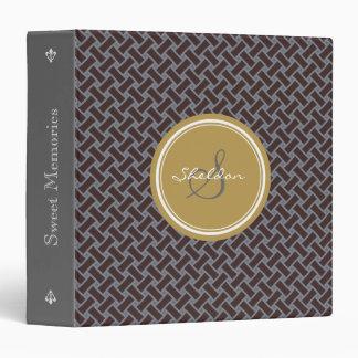 Chic brown greek key geometric patterns monogram vinyl binders