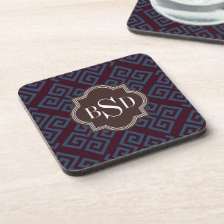 Chic brown greek key geometric patterns monogram beverage coaster