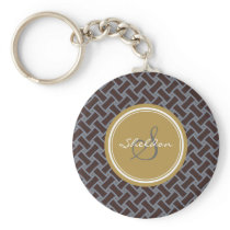 Chic brown greek key geometric patterns monogram keychain