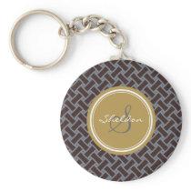 Chic brown greek key geometric patterns monogram keychain