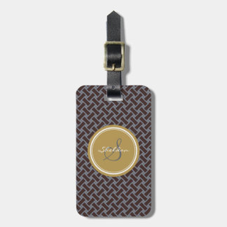 Chic brown greek key geometric patterns monogram luggage tag