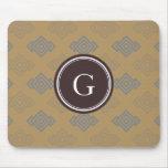 Chic brown greek key geometric patterns monogram mouse pad