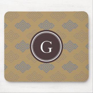 Chic brown greek key geometric patterns monogram mouse pads
