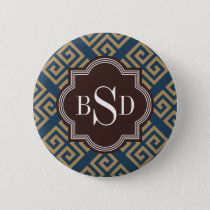 Chic brown greek key geometric patterns monogram pinback button