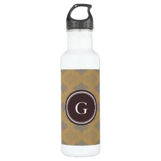 Chic brown greek key geometric patterns monogram stainless steel water bottle