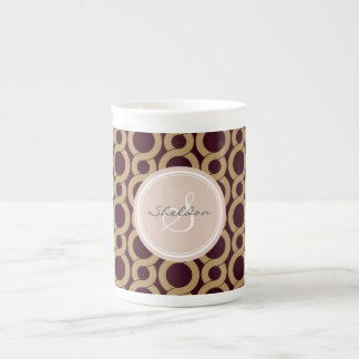 Chic brown interlocking circle pattern monogram tea cup