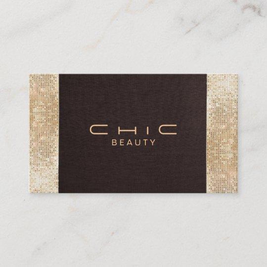 Chic brown linen gold sequin look pearl cardstock business card chic brown linen gold sequin look pearl cardstock business card reheart Gallery
