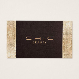 Chic Brown Linen Gold Sequin Look Pearl Cardstock Business Card