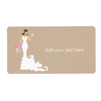 Chic Brown Modern Bride Gift Tag Label Shipping Label