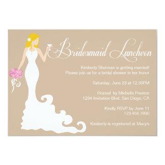 Chic Brown Modern Bride Posh Bridesmaid Luncheon Card