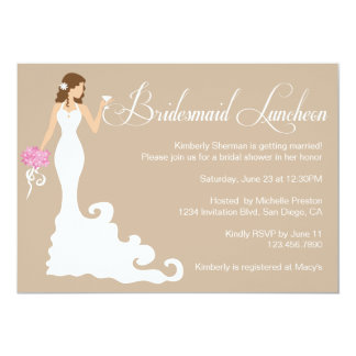 Chic Brown Modern Bride Posh Bridesmaid Luncheon 5x7 Paper Invitation Card