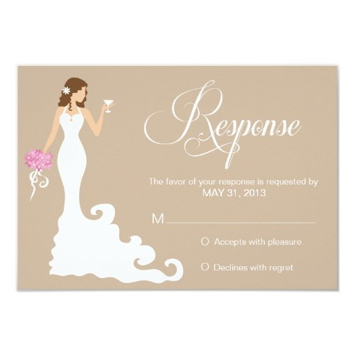 Chic Brown Modern Bride RSVP Card