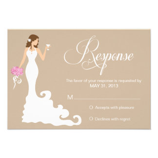 Chic Brown Modern Bride RSVP Personalized Invitations