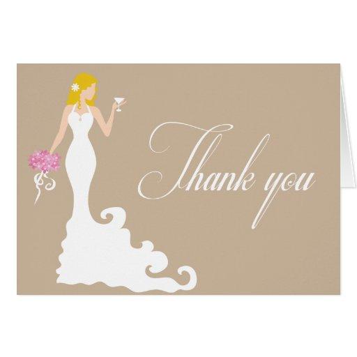 Chic Brown Modern Bride Thank You Card