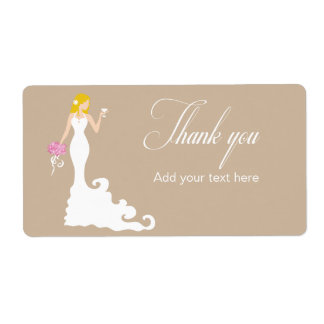 Chic Brown Modern Bride Thank You Label Shipping Label