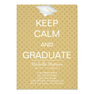 Chic Brown Polka Dot Keep Calm and Graduate Invite