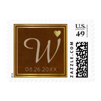 chic brown wedding family initial monogram postage