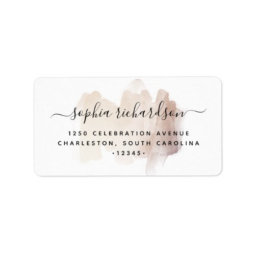 Chic Brush Stroke   Faux Rose Gold on White Label