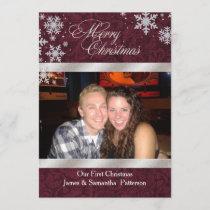 Chic Burgundy First Christmas Photo Card