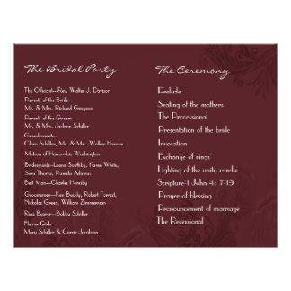 Chic Burgundy Flourish Wedding Program