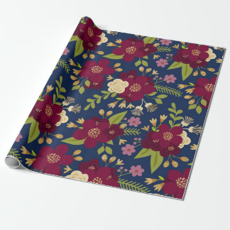 Chic Burgundy, Navy Blue and Gold Wedding Floral Wrapping Paper