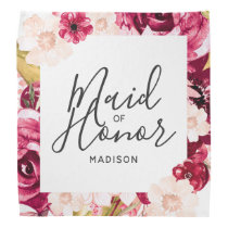 Chic Burgundy & Pink Floral Border Maid of Honor Bandana