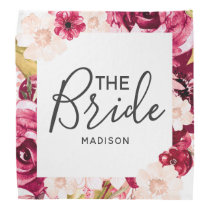 Chic Burgundy & Pink Floral Border the Bride Bandana
