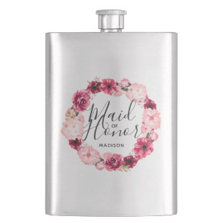 Chic Burgundy & Pink Floral Wreath Maid of Honor Flask