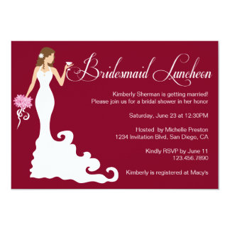 Chic Burgundy Posh Bridesmaid Luncheon 5x7 Paper Invitation Card