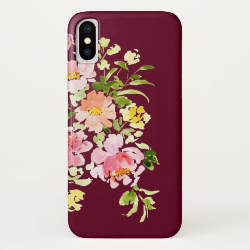 Chic burgundy watercolor floral flowers stylish iPhone x case