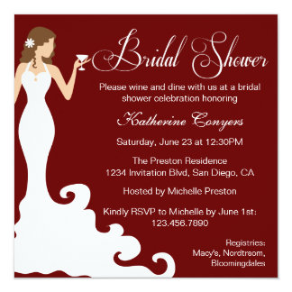 "Chic Burgundy Wine Bridal Shower Invitation 5.25"" Square Invitation Card"