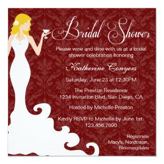 "Chic Burgundy Wine Damask Bridal Shower Invitation 5.25"" Square Invitation Card"